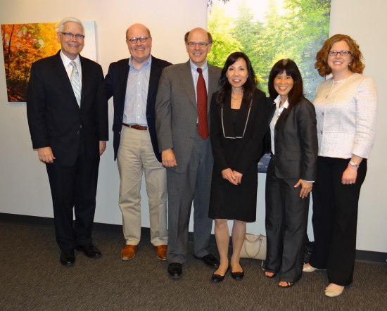 Spring 2015: Each level of the Minnesota Courts is represented in this photo: Associate Justice David Lillehaug, Court of Appeals Judge Francis Connolly, George, Hennepin County Judges Regina Chu and Susan Burke, and Melissa.