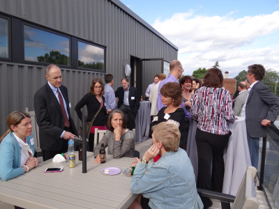 Guests enjoyed the balcony deck at the Open House on June 12, 2014.