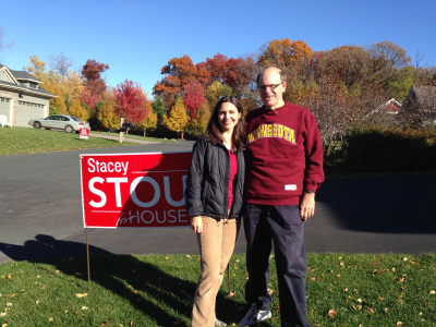 State Rep. candidate Stacey Stout and George before they knocked-doors in Stacey's district on October 2014.
