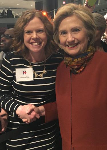December 2015: Melissa with Hillary Clinton.